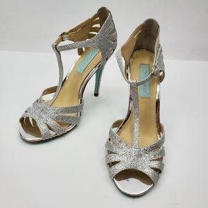 Betsey Johnson sparkly glitter t strap high heels